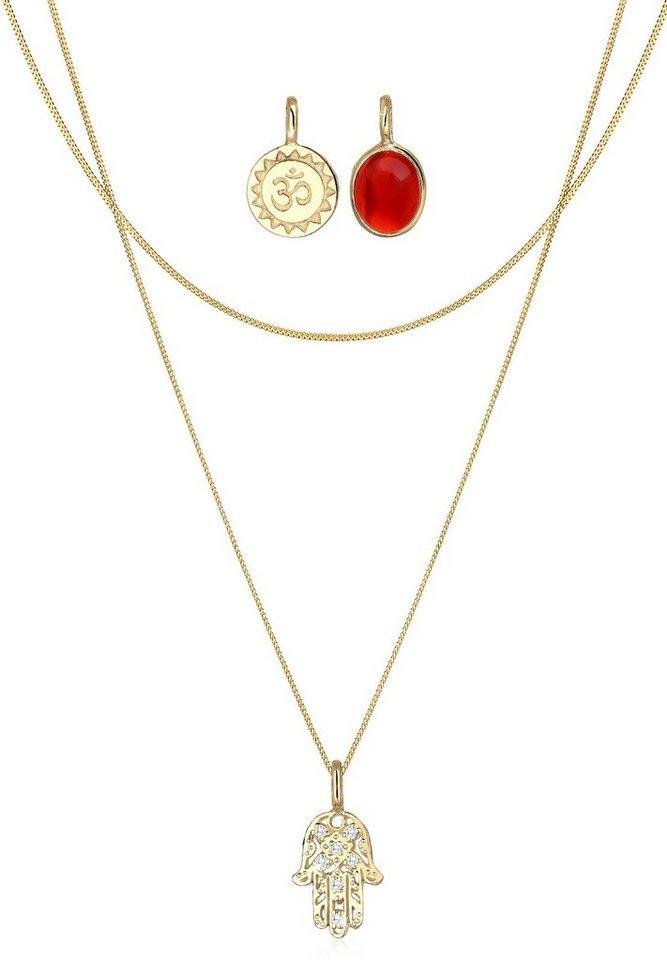 Elli Set: Halskette »Hamsa Hand Om Edelstein 925 Sterling Silber« 3 tlg. in Rot