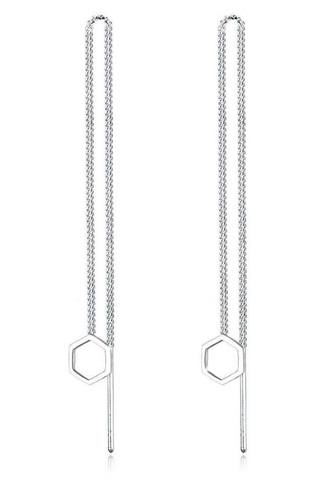 Elli Ohrringe »Hexagon Geo Minimal 925 Sterling Silber« in Silber