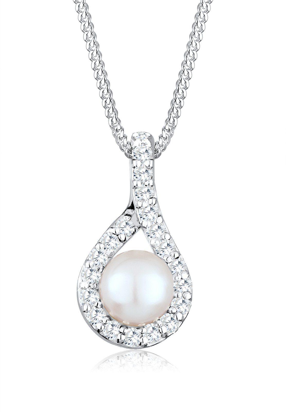 Perlu Halskette »Süßwasserzuchtperle Zirkonia 925 Silber«
