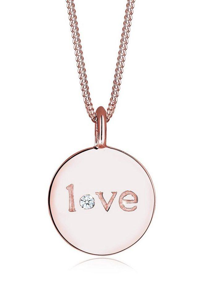 Elli Halskette »Love-Schriftzug Diamant 925 Sterling Silber« in Rosegold