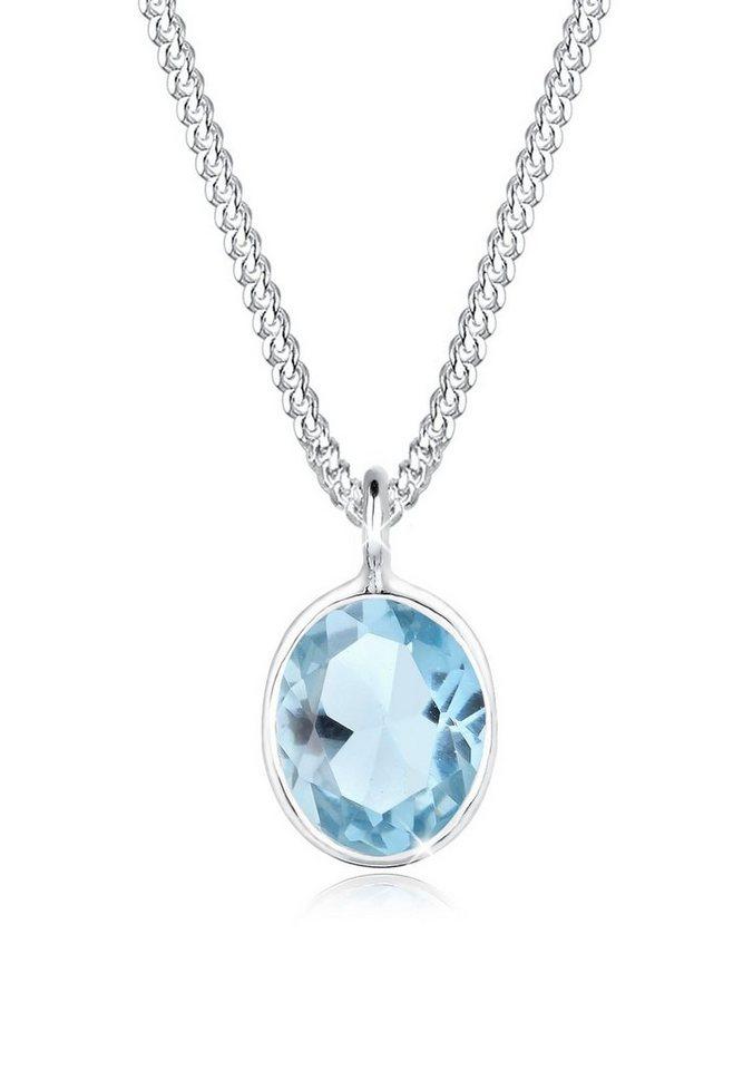 Elli Halskette »Topas 925 Sterling Silber« in Hellblau