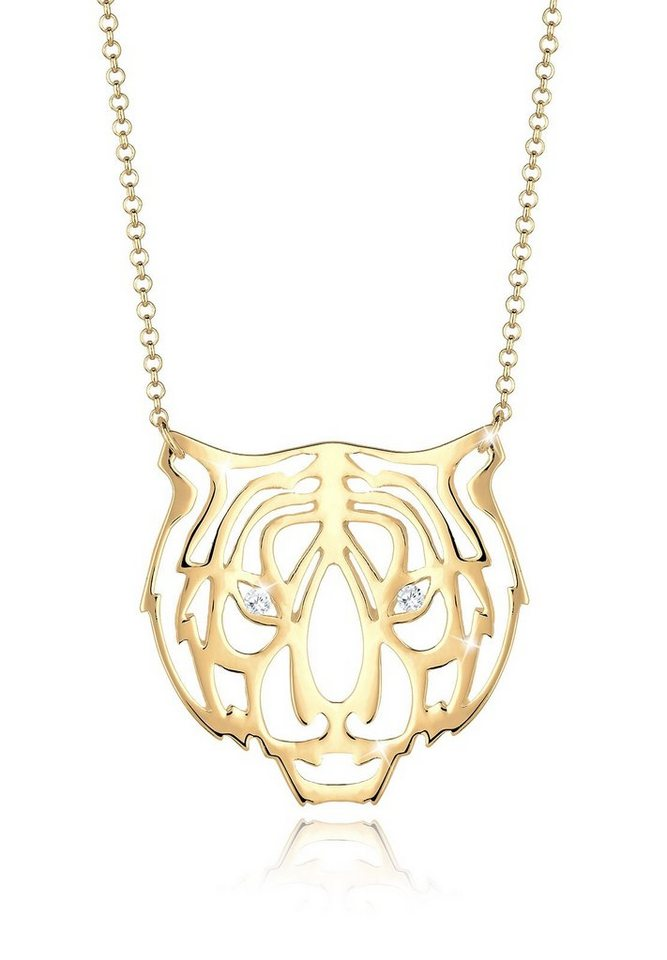 Elli Halskette »Tiger Safari Zirkonia 925 Sterling Silber« in Gold