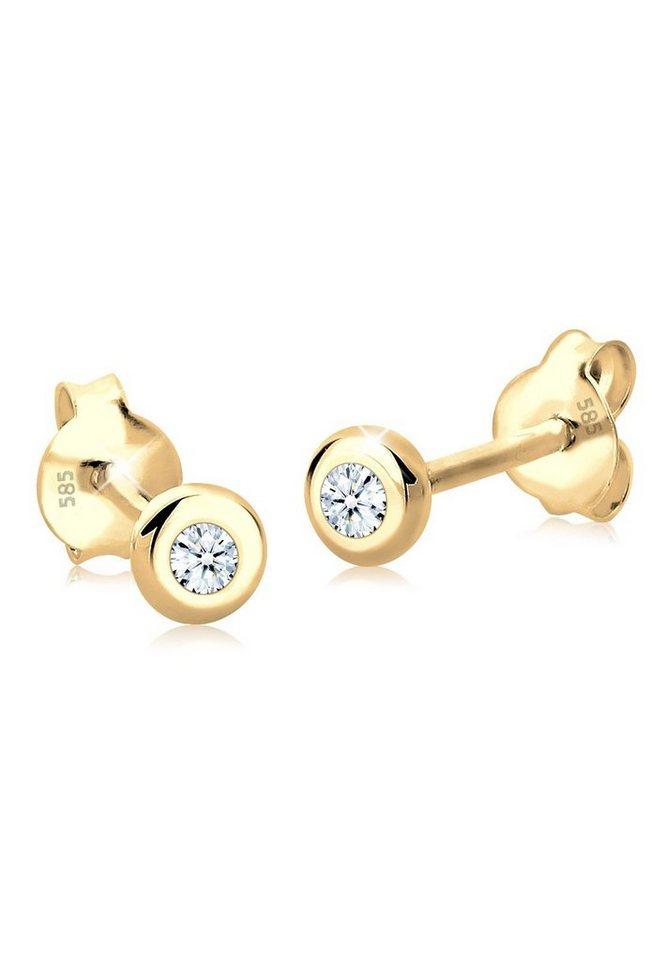 Diamore Ohrringe »Diamant Basic Luxus Geschenk 585 Gelbgold« in Weiß