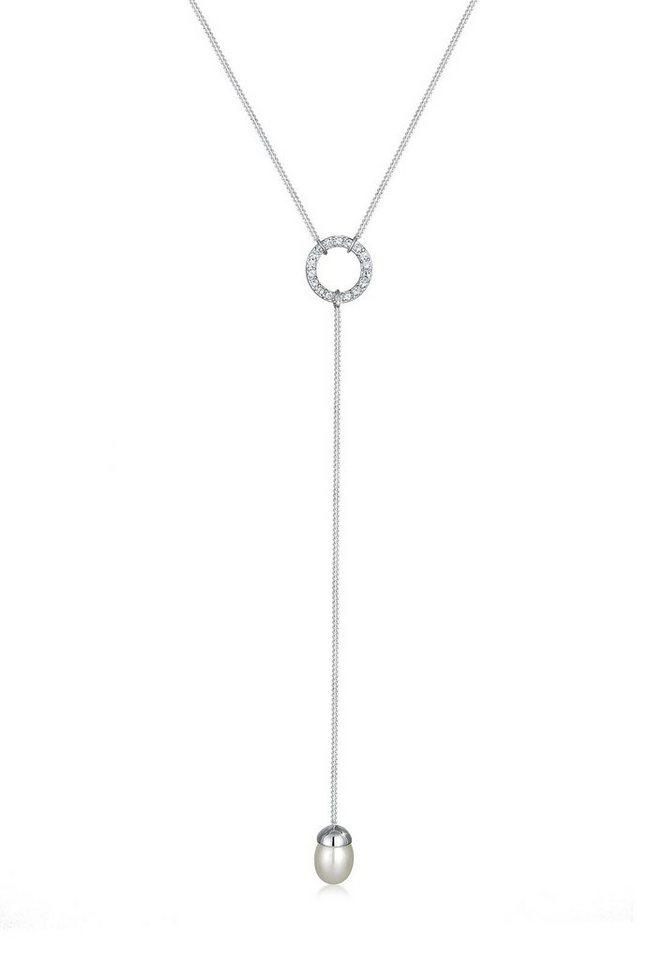 Elli Halskette »Y-Kette Swarovski® Kristalle Perle 925 Silber« in Silber