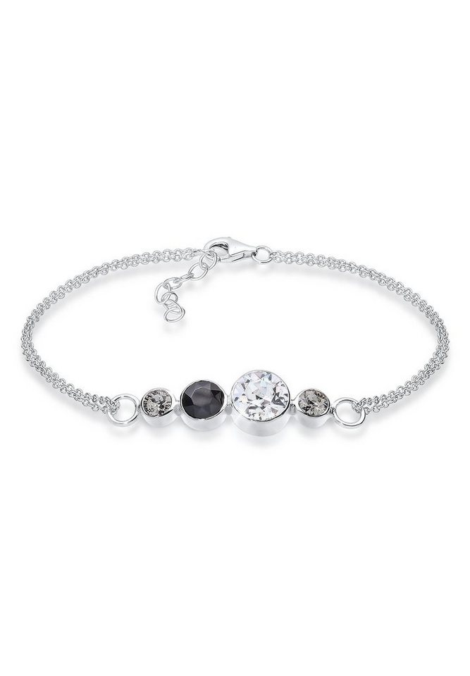 Elli Armband »Verspielt Swarovski® Kristalle 925 Sterling Silber« in Schwarz