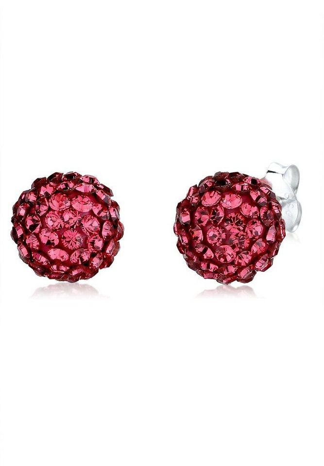 Elli Ohrringe »Kugel Swarovski® Kristalle Funkelnd Elegant Silber« in Rot