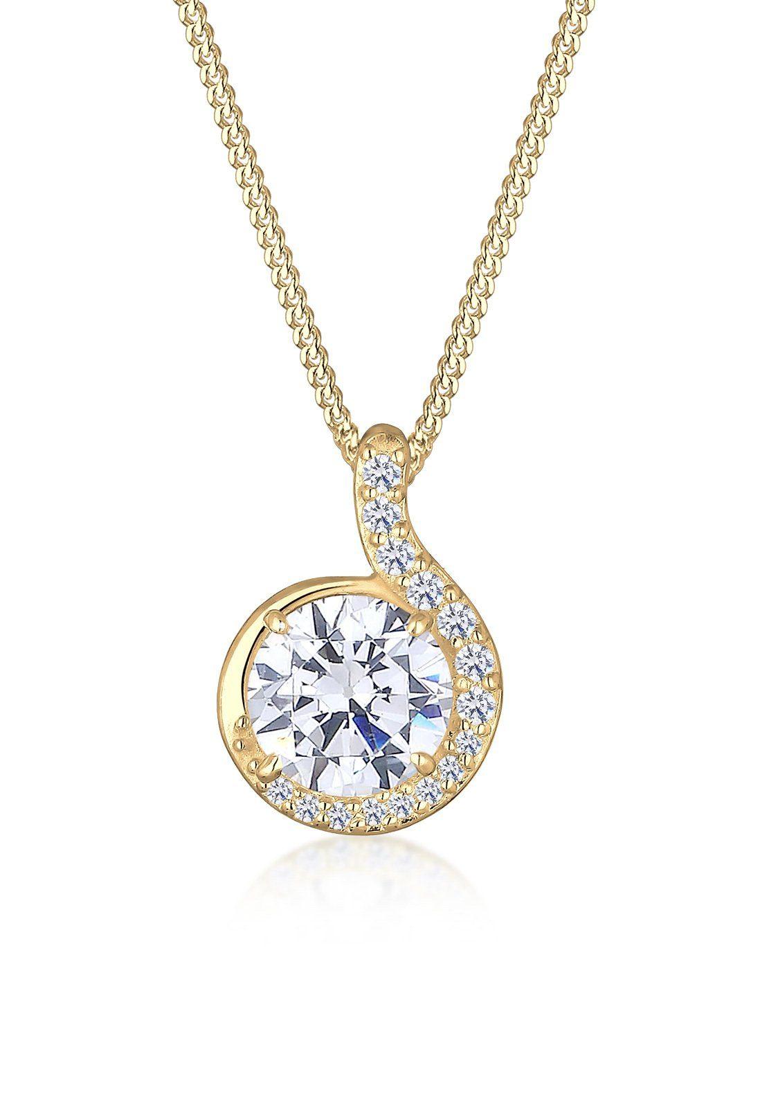 Elli Halskette »Tropfen Zirkonia 585 Gelbgold«