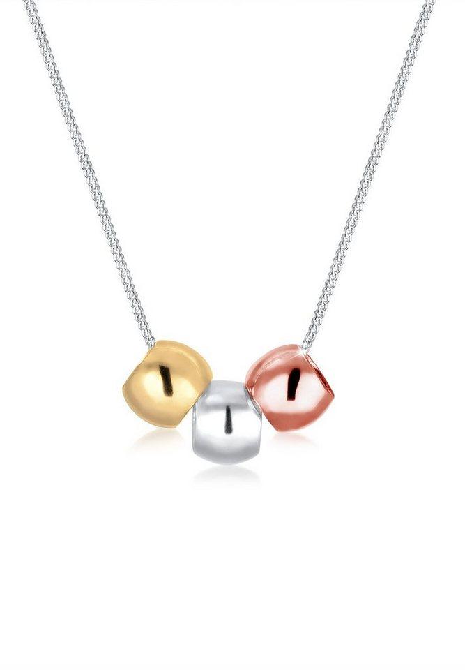 Elli Halskette »Tricolor Kugeln 925 Sterling Silber« in Silber