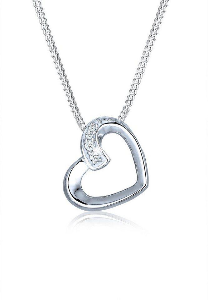 Elli Halskette »Herz Liebe Diamant 925 Sterling Silber« in Weiß
