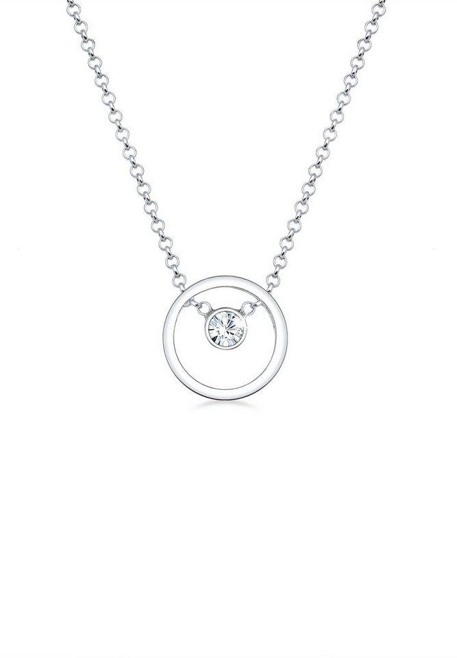 Elli Halskette »Kreis Swarovski® Kristalle 925 Sterling Silber« in Silber
