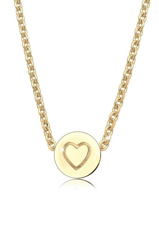 Elli Halskette »Herz Stern Valentin Gravur 925 Sterling Silber« in Gold