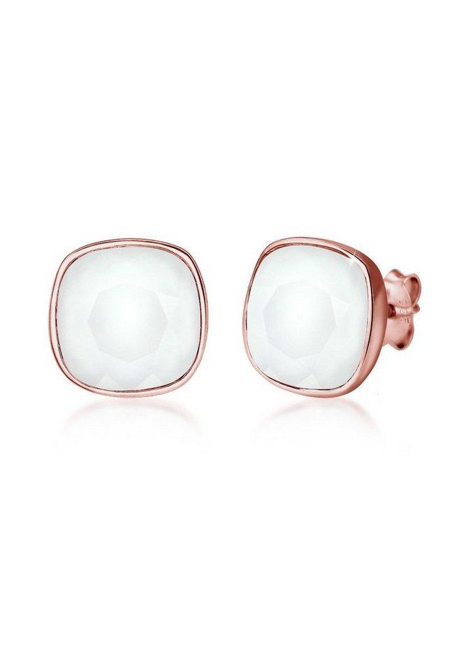 Elli Ohrringe »Pastell Trend Swarovski® Kristalle Basic Silber« in Grau