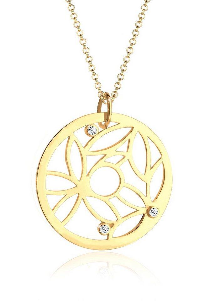Elli Halskette »Münze Ornament Swarovski Kristalle 925 Silber« in Weiß