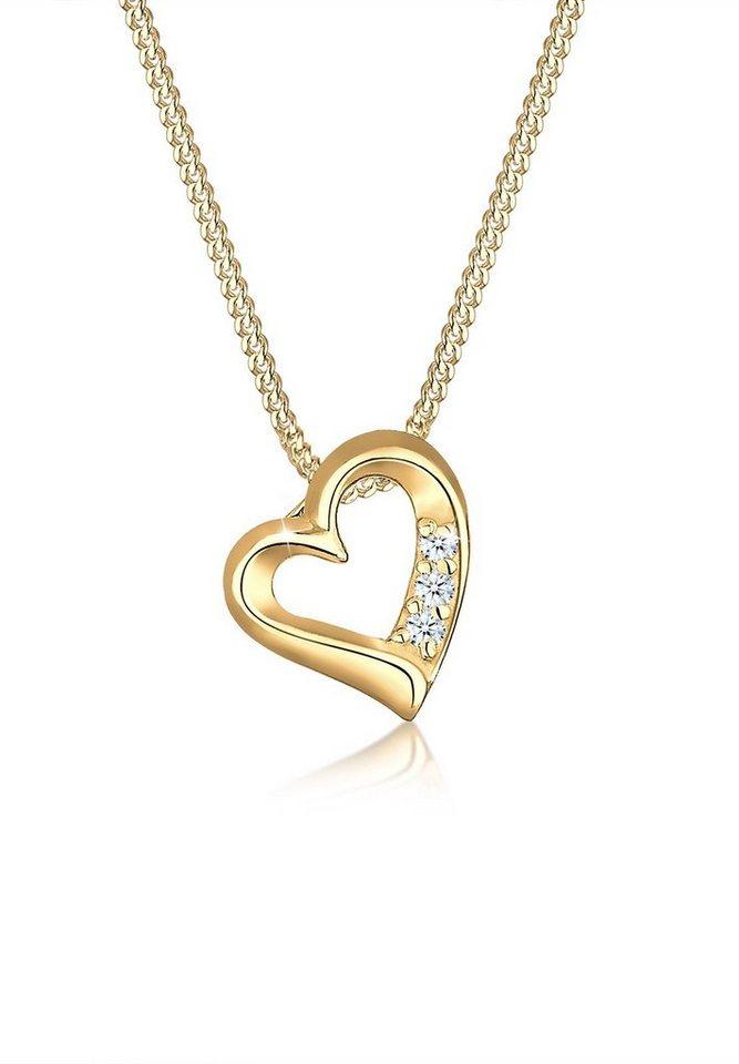 Diamore Halskette »Herz Diamant 585 Gelbgold« in Weiß