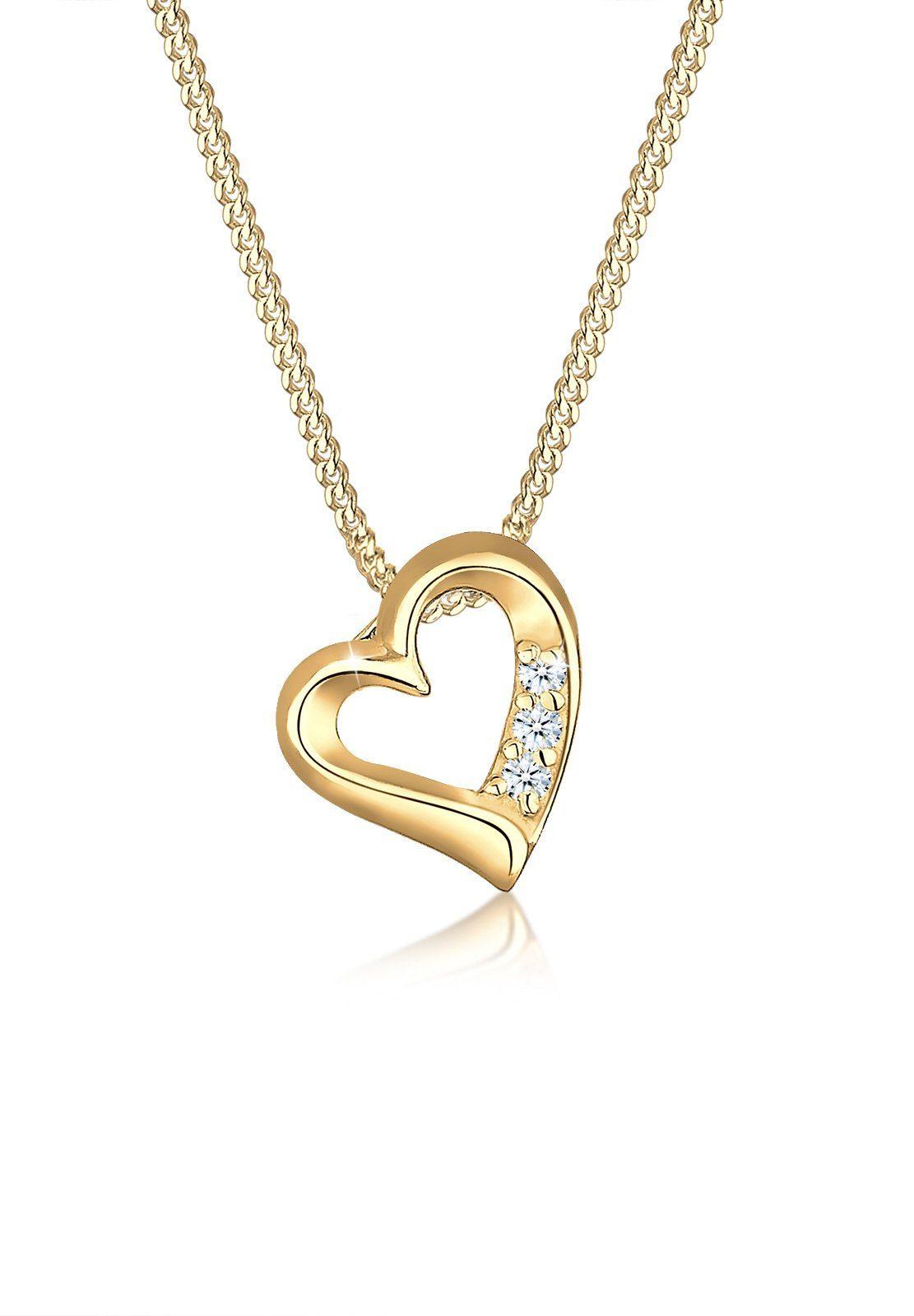 Diamore Halskette »Herz Diamant 585 Gelbgold«