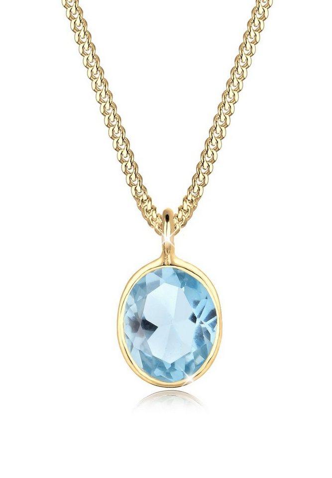 Goldhimmel Halskette »925 Silber vergoldet Topas« in Hellblau