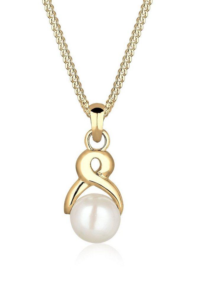 Elli Halskette »Infinity Süßwasserzuchtperle 585 Gelbgold« in Weiß