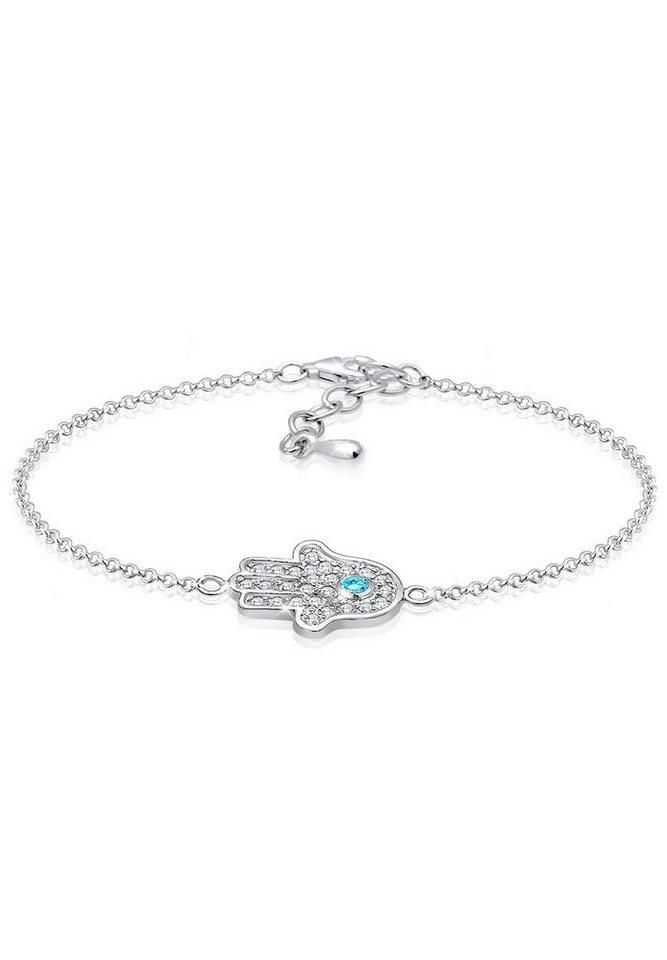 Elli Armband »Hamsa Hand Zirkonia 925 Sterling Silber« in Hellblau