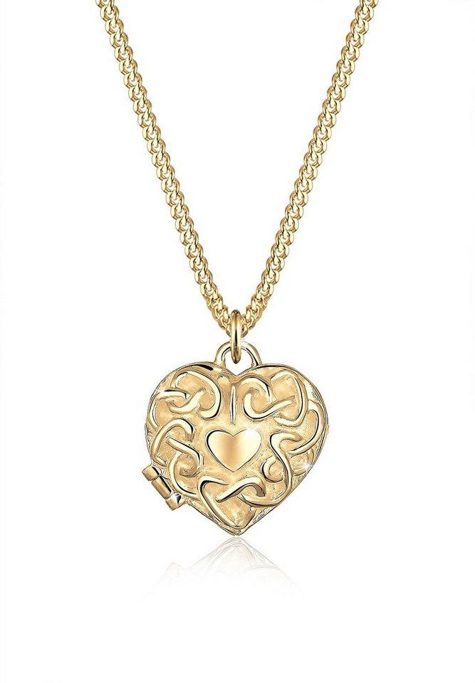 Elli Halskette »Herz Amulett 585 Gelbgold« in Gold
