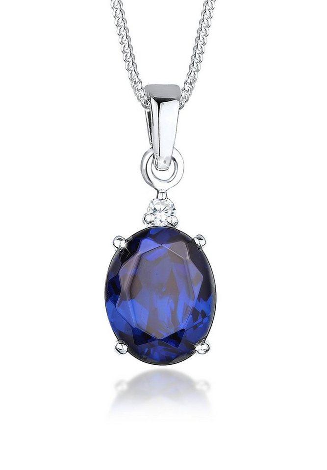 Elli Halskette »Saphirblau Zirkonia 925 Sterling Silber« in Blau