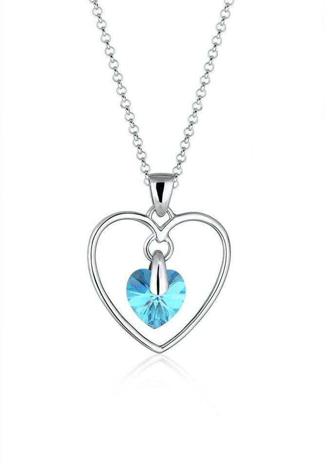Elli Halskette »Herzform Swarovski® Kristalle 925 Sterling Silber« in Hellblau
