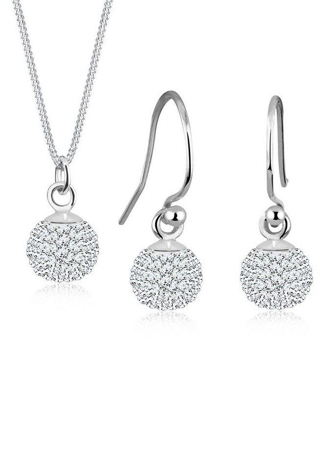Elli Set: Schmuckset »Kugel Swarovski® Kristalle 925 Sterling Silber« 2 tlg. in Weiß
