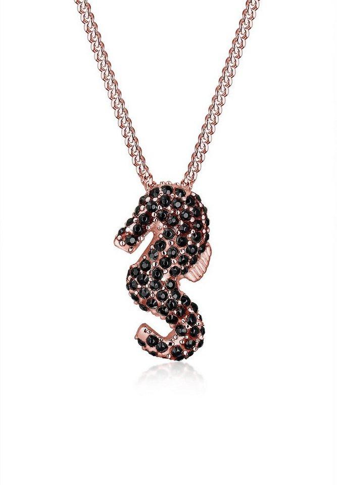 Elli Halskette »Seepferdchen Swarovski Kristalle 925 Silber« in Schwarz