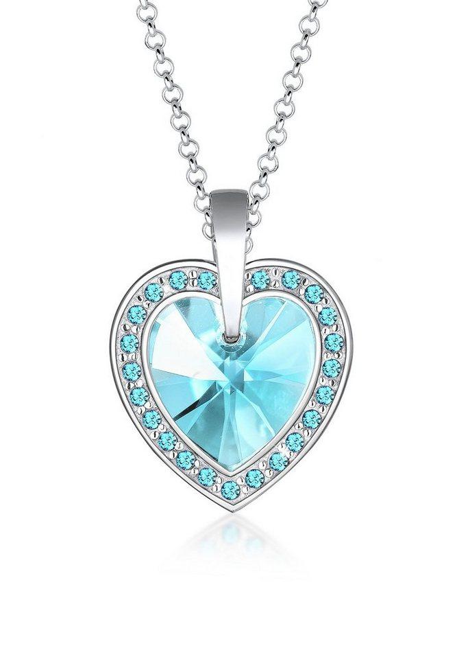Elli Halskette »Herz Edel Swarovski® Kristalle 925 Sterling Silber« in Hellblau