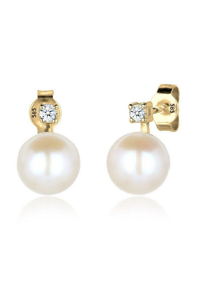 Diamore Ohrringe »585 Gelbgold Diamant Perle« in Weiß