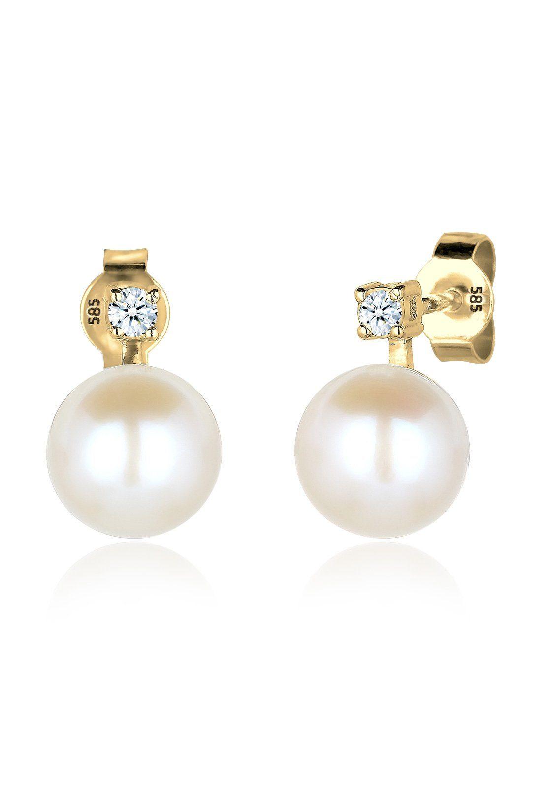Diamore Ohrringe »Diamant Perle Geschenk Elegant 585 Gelbgold«