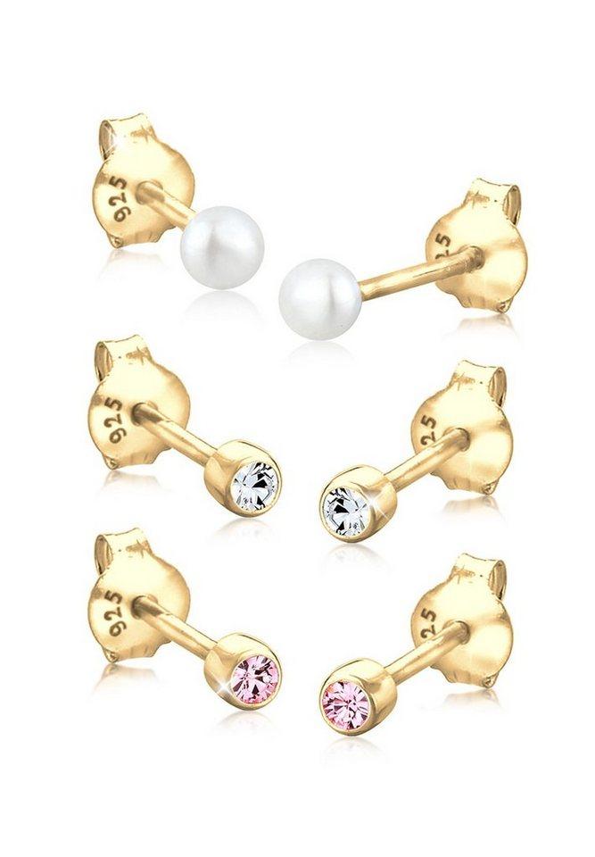 Elli Set: Ohrringe »Süßwasserperle Swarovski® Kristalle 925 Silber« 3 tlg. in Gold