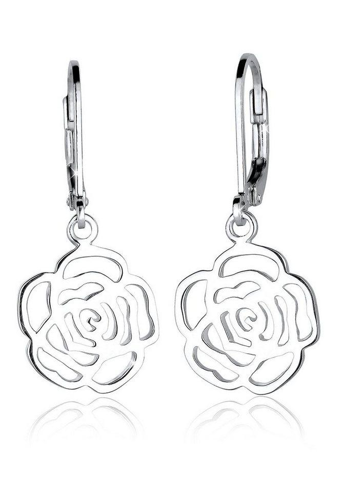 Elli Ohrringe »Rose Blume Blütenform Romantisch Filigran Silber« in Silber