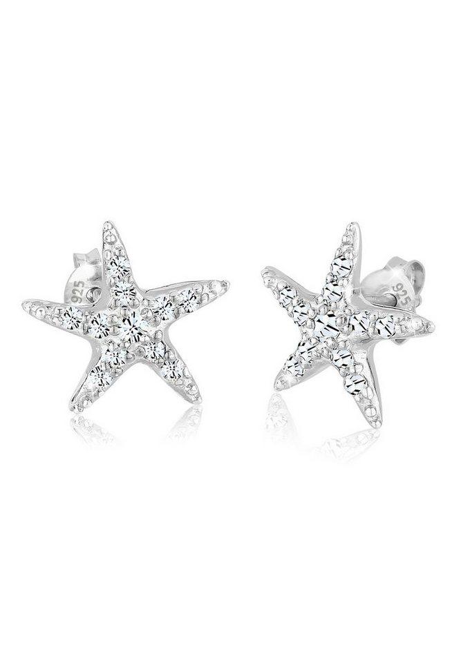 Elli Ohrringe »925 Sterling Silber Swarovski Kristalle Seestern« in Silber