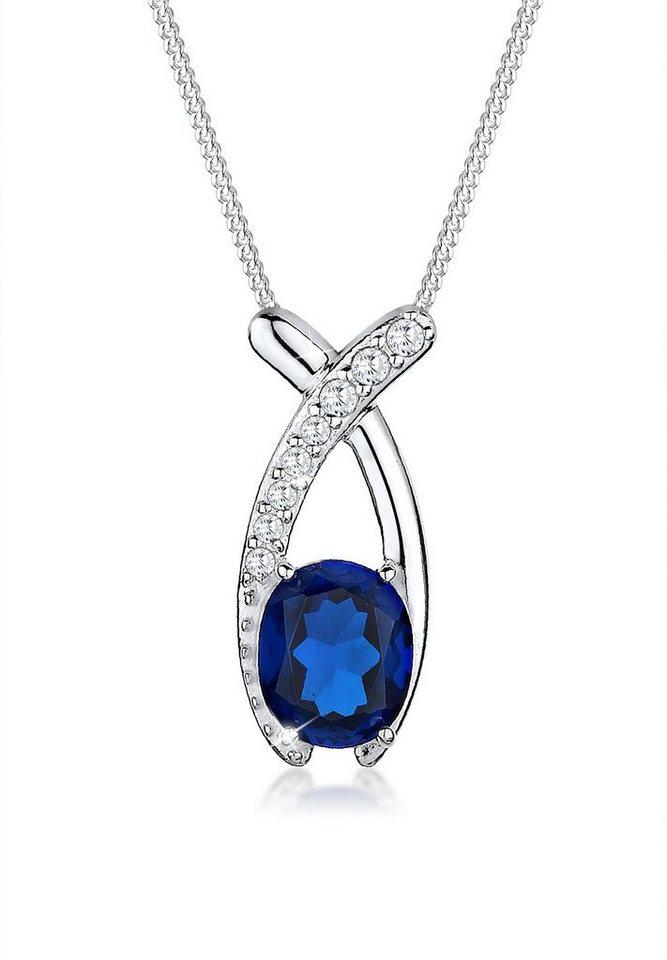 Elli Halskette »Zirkonia Saphirblau 925 Sterling Silber« in Blau