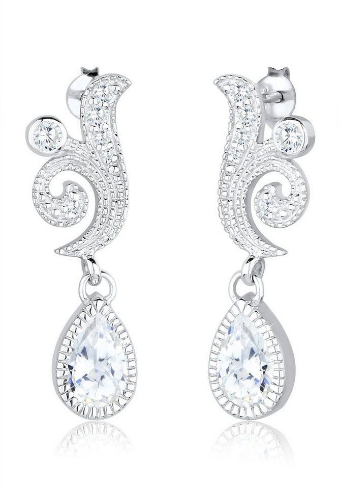 Elli Ohrringe »Ornament Tropfen Festlich Zirkonia 925 Silber« in Weiß