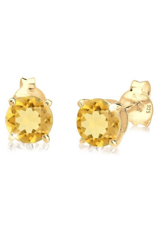 Goldhimmel Ohrringe »Citrin Funkelnd Elegant Basic 925 Silber vergoldet« in Gelb