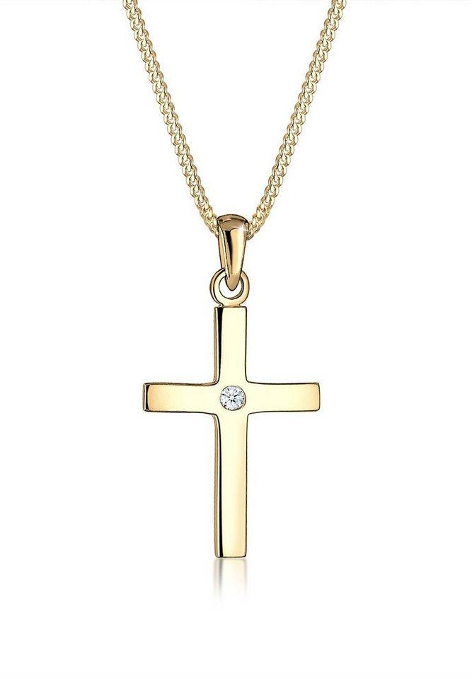 Diamore Halskette »Kreuz Diamant 585 Gelbgold« in Weiß