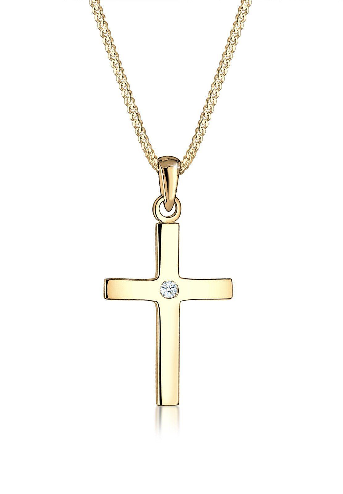 Diamore Halskette »Kreuz Diamant Konfirmation Kommunion 585 Gelbgold«