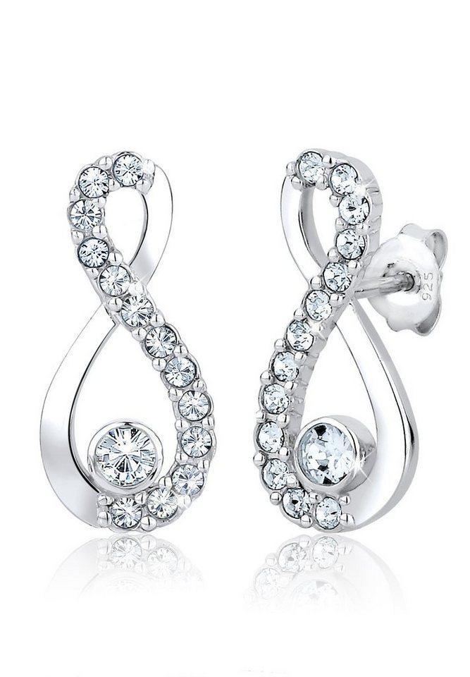 Elli Ohrringe »Infinity Swarovski® Kristall Trend 925 Silber« in Weiß