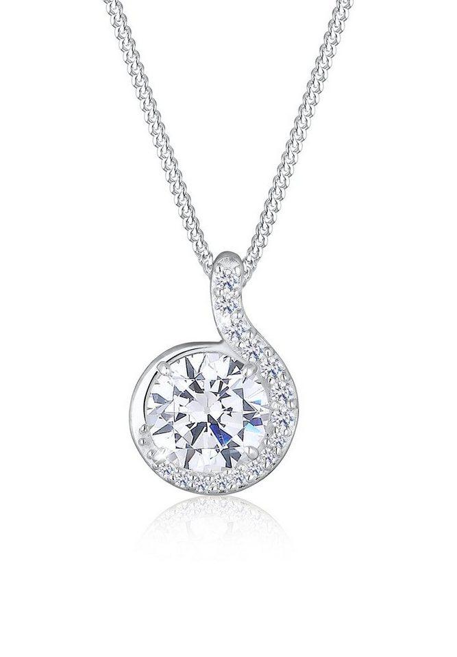 Elli Halskette »Zirkonia Kreis Verschlungen 925 Sterling Silber« in Weiß