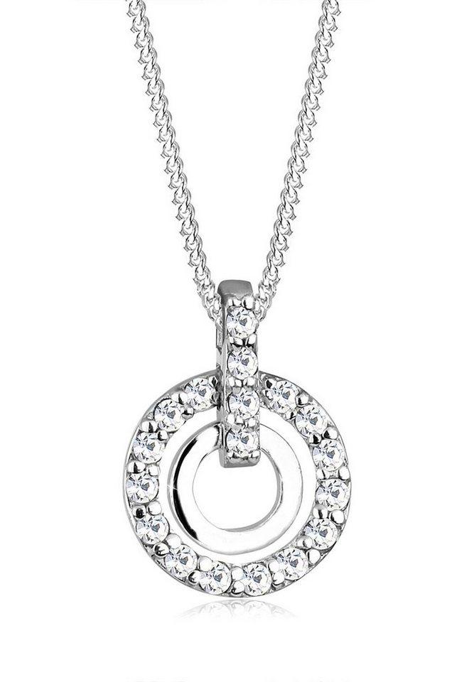 Elli Halskette »925 Sterling Silber Kreis Swarovski Kristalle« in Silber