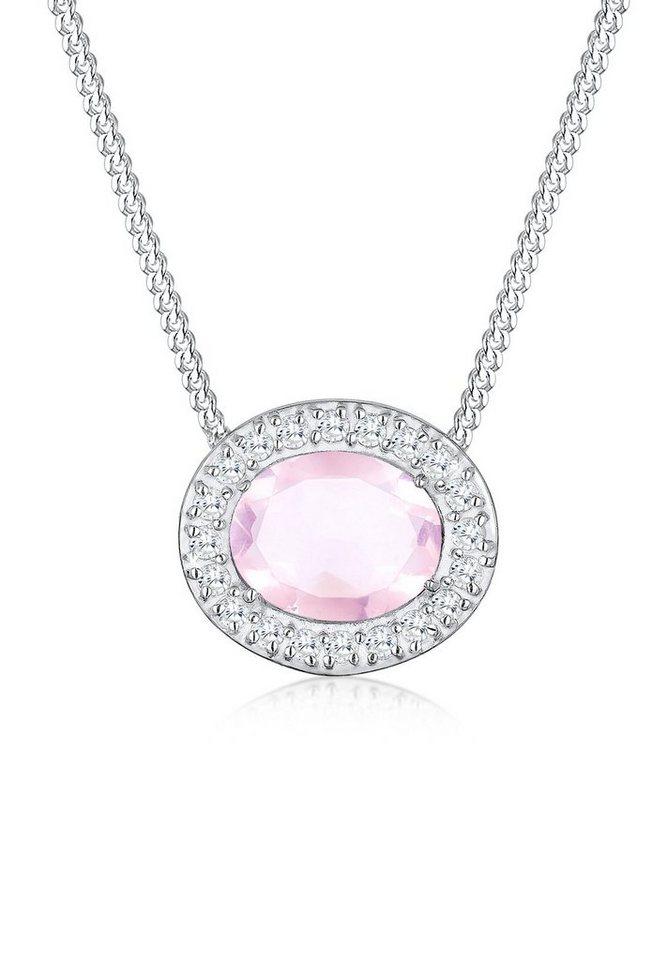 Elli Halskette »Kreis Zirkonia Edelstein 925 Sterling Silber« in Rosa