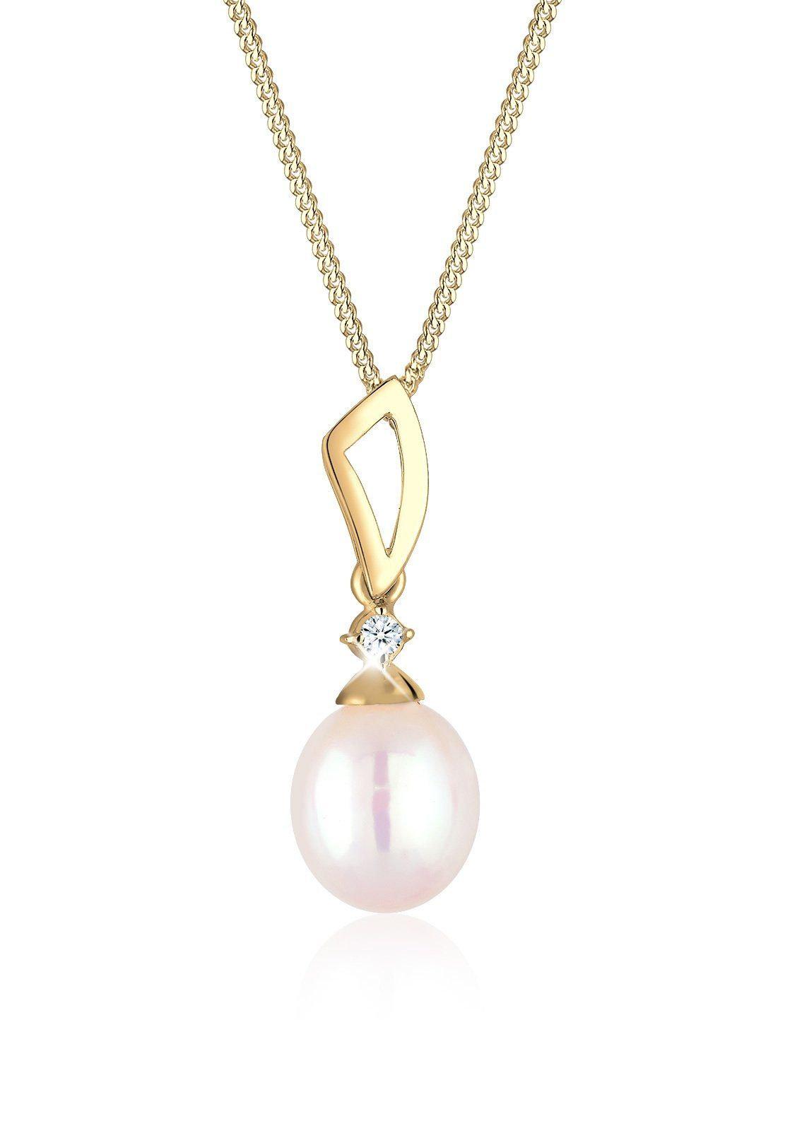 Diamore Halskette »Verziert Diamant Süßwasserzuchtperle 585 Gelbgold«