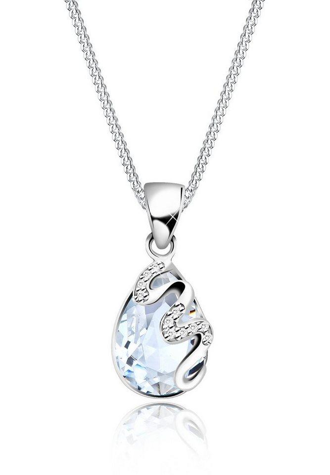 Elli Halskette »Tropfen Swarovski Kristalle Zirkonia 925 Silber« in Weiß