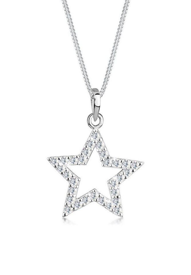 Elli Halskette »Stern Swarovski® Kristalle 925 Sterling Silber« in Weiß