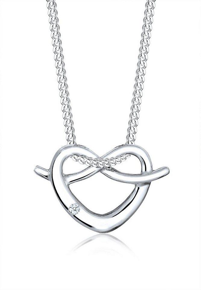 Elli Halskette »Herz Brezel Wiesn Diamant 925 Sterling Silber« in Silber