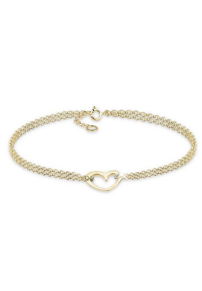 Elli Armband »Herz 375 Gelbgold« in Gold