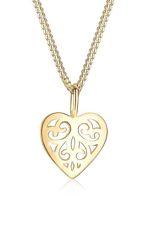 Elli Halskette »Herz Ornament 585 Gelbgold« in Gold