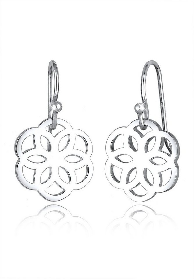 Elli Ohrringe »Blume Ornament Cut-Out Flower of Life Silber« in Silber