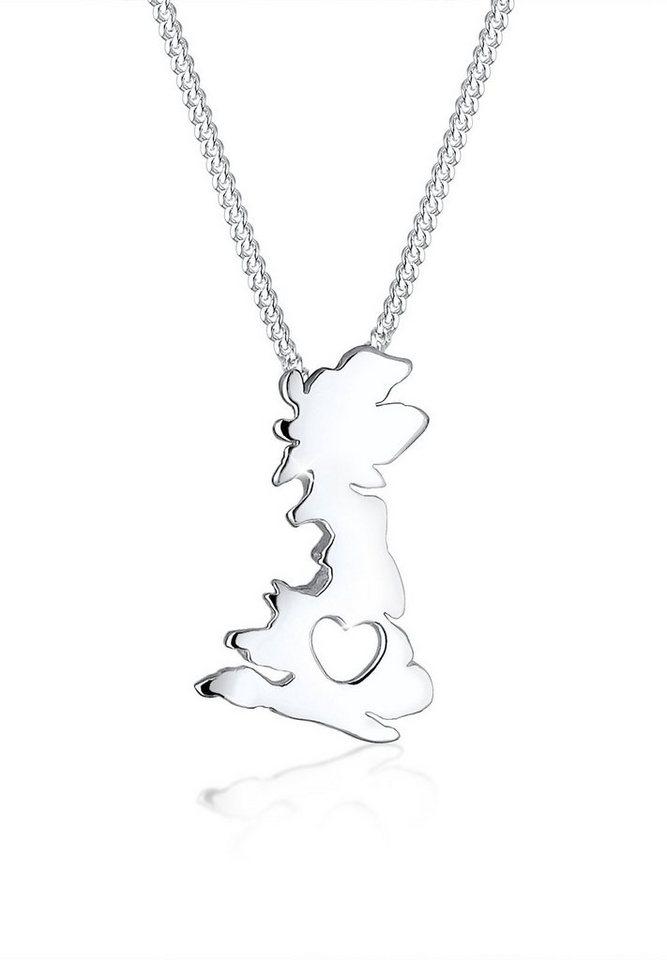 Elli Halskette »Länderumriss England Herz 925 Silber« in Silber